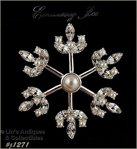 Signed Eisenberg Ice Faux Pearl and Clear Rhinestone Snowflake Pin