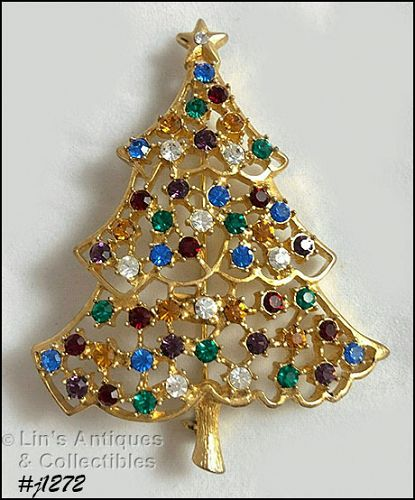 Signed Eisenberg Ice Christmas Tree Pin