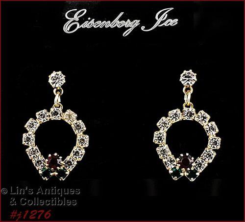 Eisenberg Ice Rhinestone Christmas Earrings