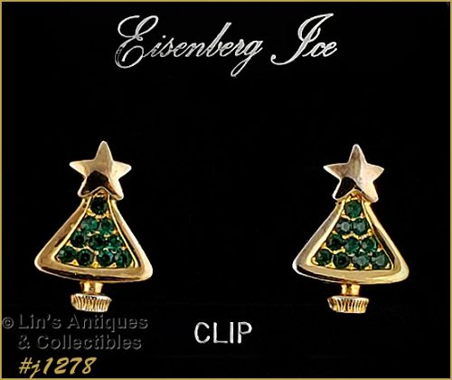 Eisenberg Ice Green Rhinestone Christmas Tree Earrings