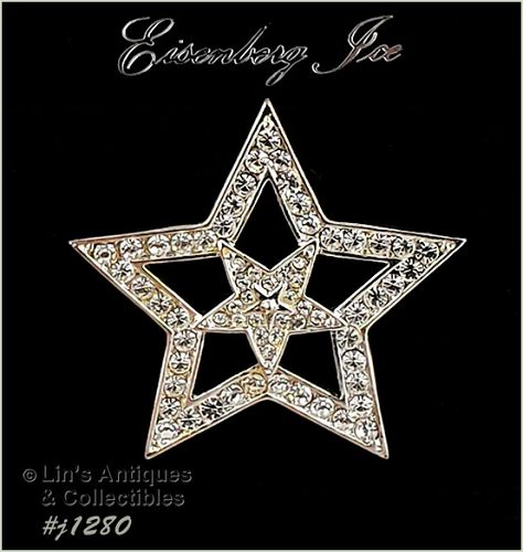 Signed Eisenberg Ice Double Star Rhinestone Pin