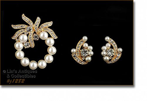 Eisenberg Ice Signed Faux Pearl and Rhinestone Pin and Earrings