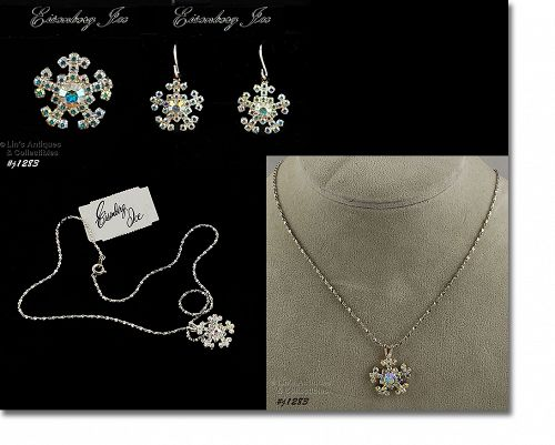 Eisenberg Ice Snowflake Necklace Earrings and Pin Set