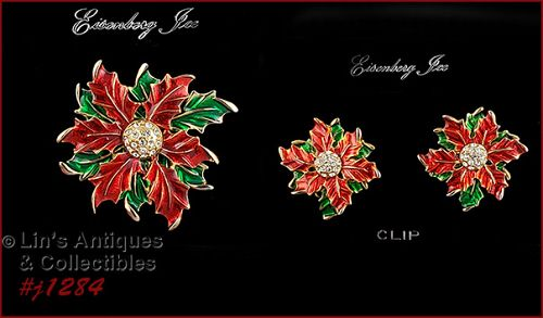 Eisenberg Ice Red and Green Poinsettia Pin and Earrings