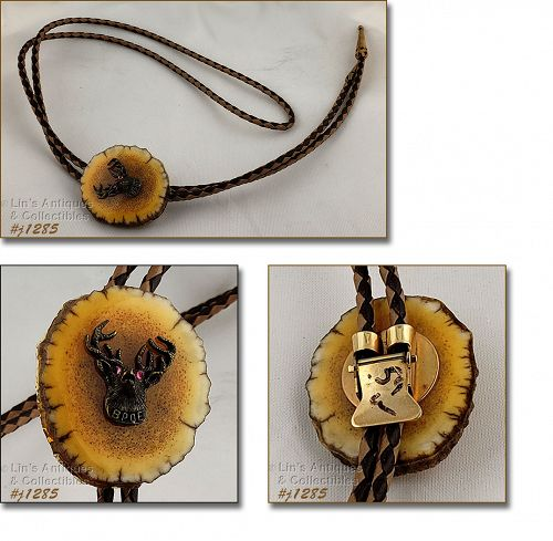 Leather Bolo Tie with Elk Head BPOE