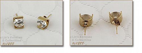 14k Yellow  Gold Pierced Earrings