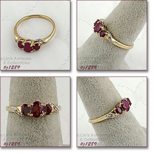 10k Yellow Gold Ruby Ring Size 7