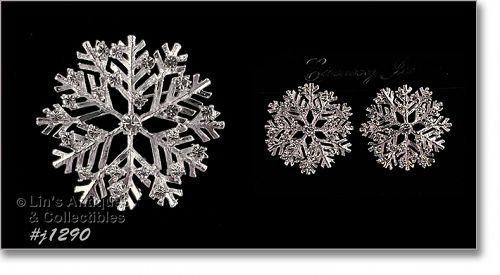 Eisenberg Ice Snowflake Pin and Earrings Set