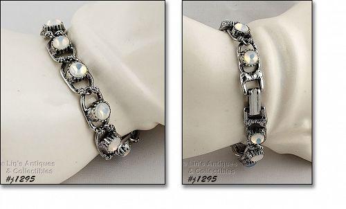 Goldette Signed Vintage Bracelet Faux Moonstones