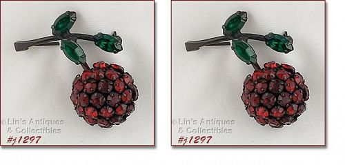 Signed Warner Pair of Rhinestone Cherry Pins