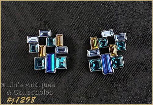 Vintage Marked Givenchy Rhinestone Pierced Earrings