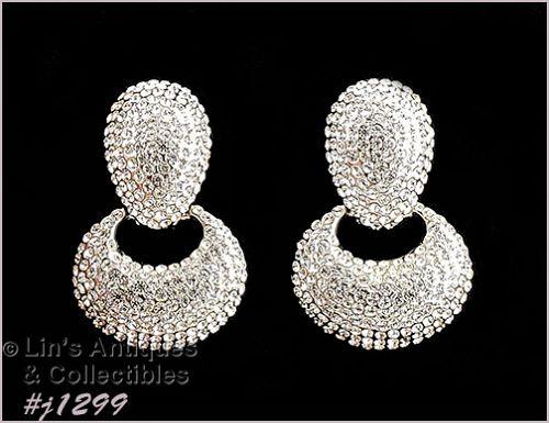Vintage Rhinestone Earrings Marked Jarin Made in USA