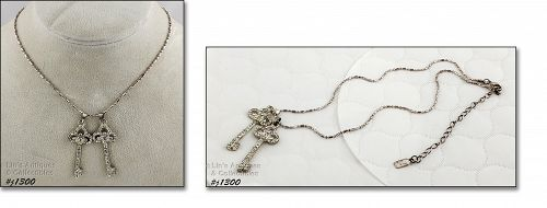 Marked Tag 1928 Necklace with Rhinestone Keys Pendant