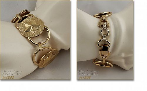 Signed Sarah Coventry Gold Tone Circle Star Bracelet