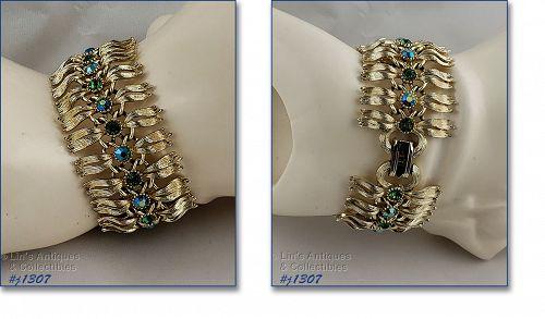 Vintage Lisner Signed Green Rhinestone Bracelet