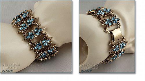 Vintage Blue Rhinestone and Faux Pearl Bracelet