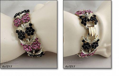 Vintage Black and Pink Rhinestone Bracelet