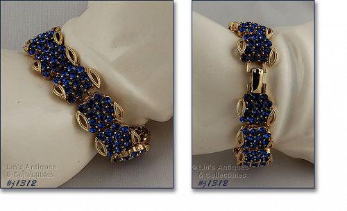 Vintage Lisner Blue Rhinestone Bracelet