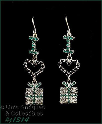 Signed Eisenberg Ice I love Gifts Christmas Earrings