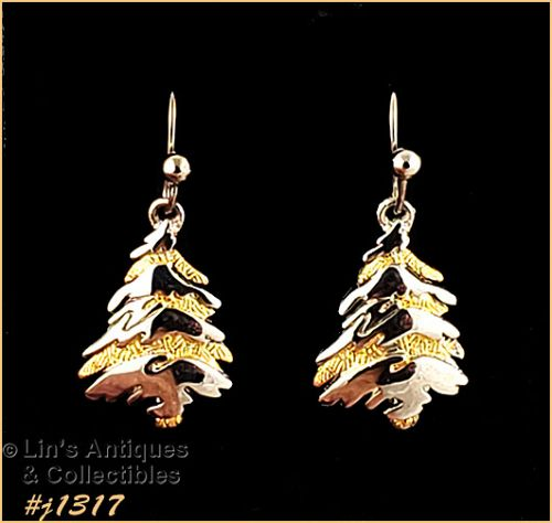 Eisenberg Ice Silver and Gold Christmas Tree Earrings