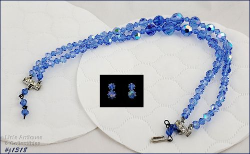 Vintage Blue Glass Bead Necklace and Earrings