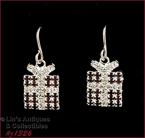 Signed Eisenberg Ice Christmas Gift Package Earrings