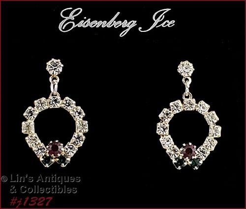 Eisenberg Ice Rhinestone Wreath Dangle Earrings