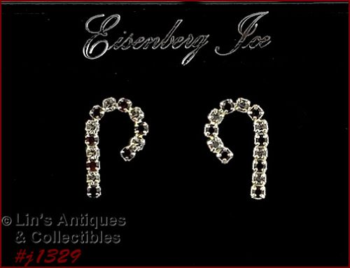 Eisenberg Ice Silver Tone Candy Cane Rhinestone Earrings