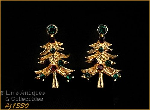 Signed Eisenberg Ice Christmas Tree Earrings Clips