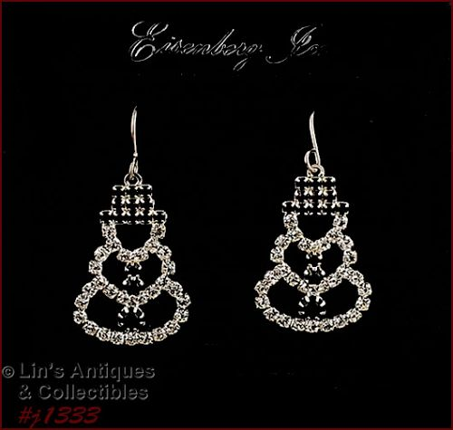 Eisenberg Ice Rhinestone Snowman Earrings