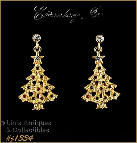 Signed Eisenberg Ice Christmas Tree Earrings