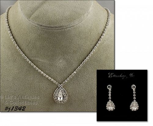Eisenberg Ice Clear Rhinestone Necklace and Earrings