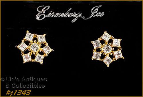 Eisenberg Ice Clear Rhinestone Earrings Gold Tone