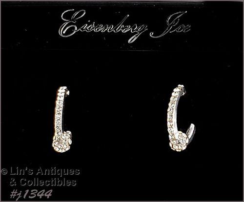 Eisenberg Ice Clear Rhinestone Earrings Silver Tone
