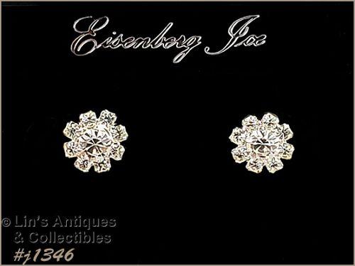 Eisenberg Ice Halo Style Earrings Clear Rhinestones