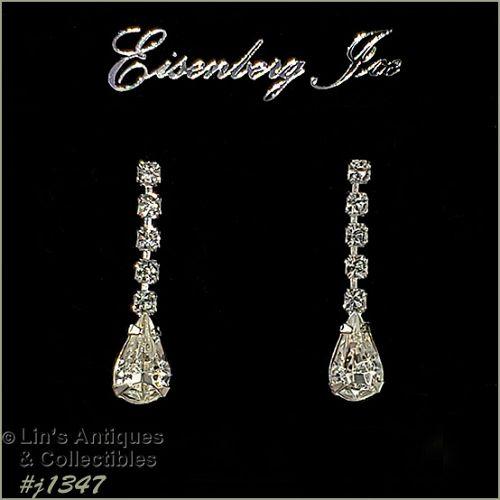 Eisenberg Ice Dangle Earrings Clear Rhinestones
