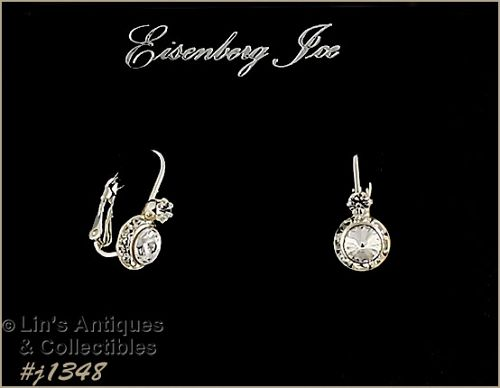 Eisenberg Ice Halo Style Earrings Clear Rhinestones Lever Back