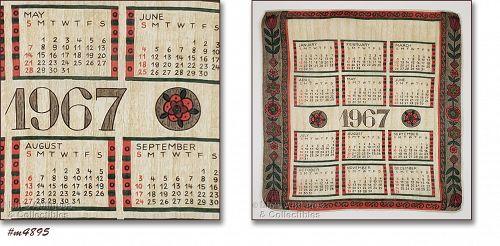 Vintage 1967 Calendar Handkerchief