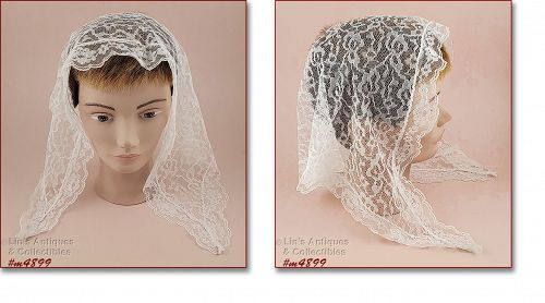 Vintage White Lace Chapel Scarf Head Covering
