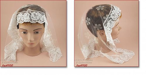 White Lace Vintage Chapel Scarf Head Covering