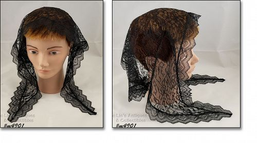 Black Lace Vintage Chapel Scarf Head Covering