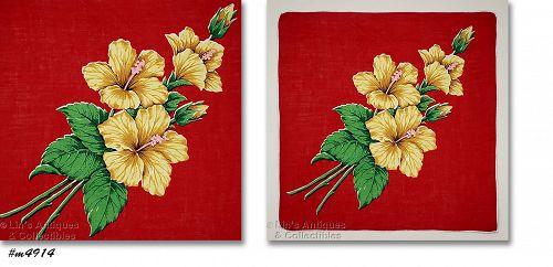 Vintage Yellow Hibiscus Handkerchief