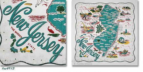 Vintage State Souvenir Handkerchief New Jersey
