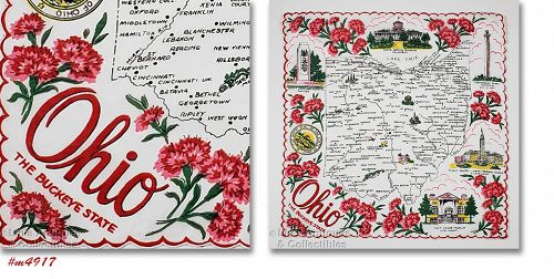 Vintage State Souvenir Hanky for Ohio The Buckeye State