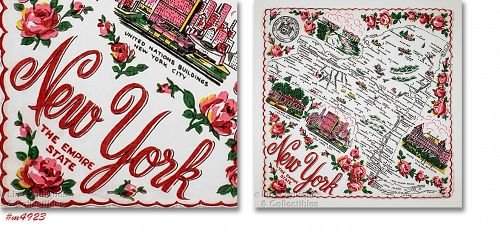 Vintage State Souvenir Hanky New York The Empire State