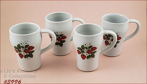 McCoy Pottery Strawberry Country Tall Mugs Set of 4