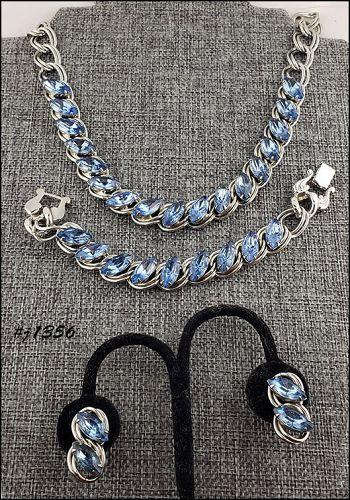 Vintage Blue Rhinestones Necklace Bracelet and Earrings