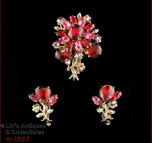 Vintage Pin and Earrings Red and Pink Rhinestones