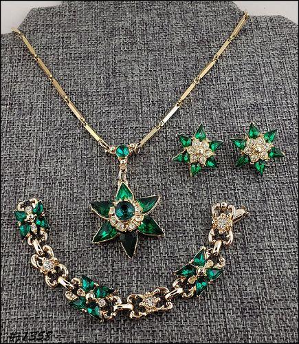 Vintage Green Rhinestones Pendant Bracelet and Earrings