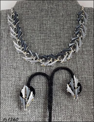 Signed Jaycraft Vintage Shades Of Gray Necklace and Earrings